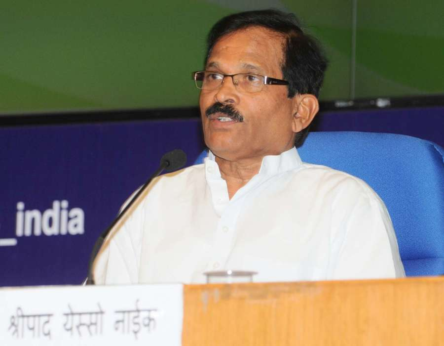 New Delhi: Union Minister of State for AYUSH and Health & Family Welfare Shripad Yesso Naik addresses at the inauguration of the National Health Editors' Conference on Yoga for Holistic Health-Recent researches, jointly organised by the Ministry of AYUSH and Press Information Bureau, in New Delhi on June 8, 2016. (Photo: IANS/PIB)