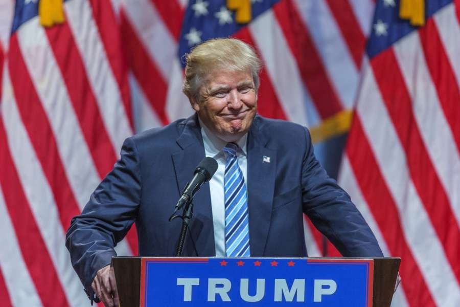 NEW YORK, Nov. 9, 2016 (Xinhua) -- File photo taken on July 16, 2016 shows U.S. Republican presidential candidate Donald Trump attends a campaign event in New York, the United States. Donald Trump was projected by U.S. media on Nov. 9, 2016 to have won 270 electoral votes needed for presidency. (Xinhua/Li Muzi/IANS)