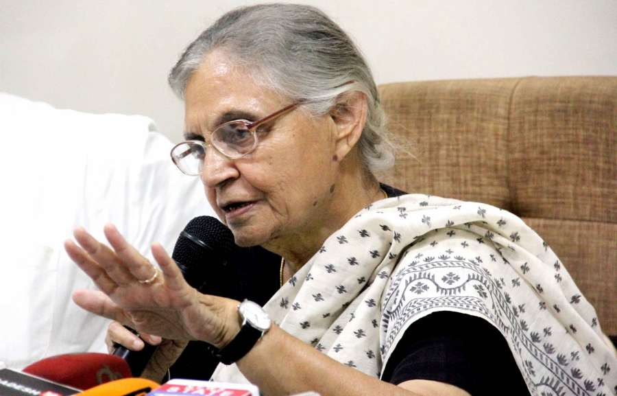 Allahabad: Congress' Chief Ministerial candidate in Uttar Pradesh Sheila Dikshit addresses a press conference in Allahabad on Aug 31 , 2016. (Photo: IANS)