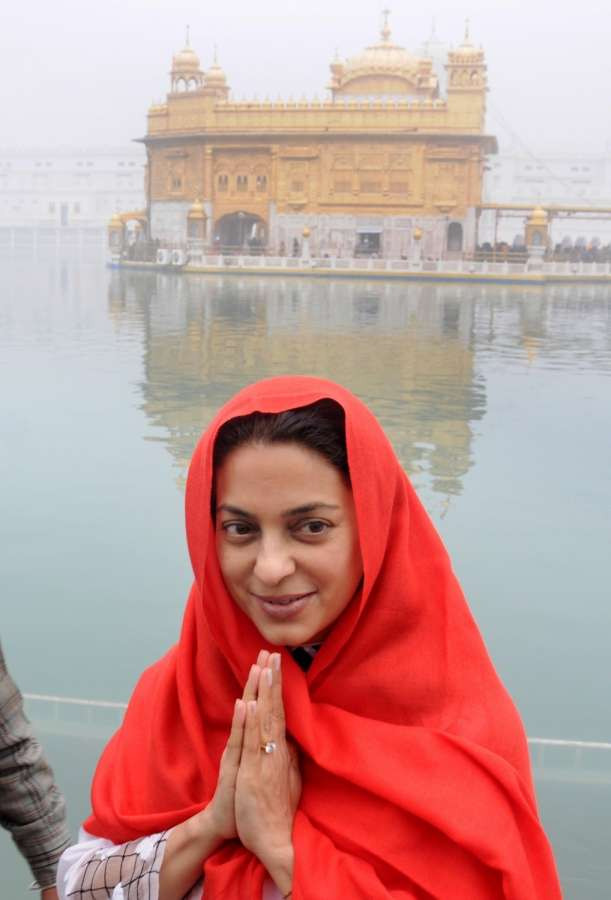 Amritsar: Actress Juhi Chawla pays obeisance at the Golden Temple in Amritsar on Dec 13, 2016. (Photo: IANS)