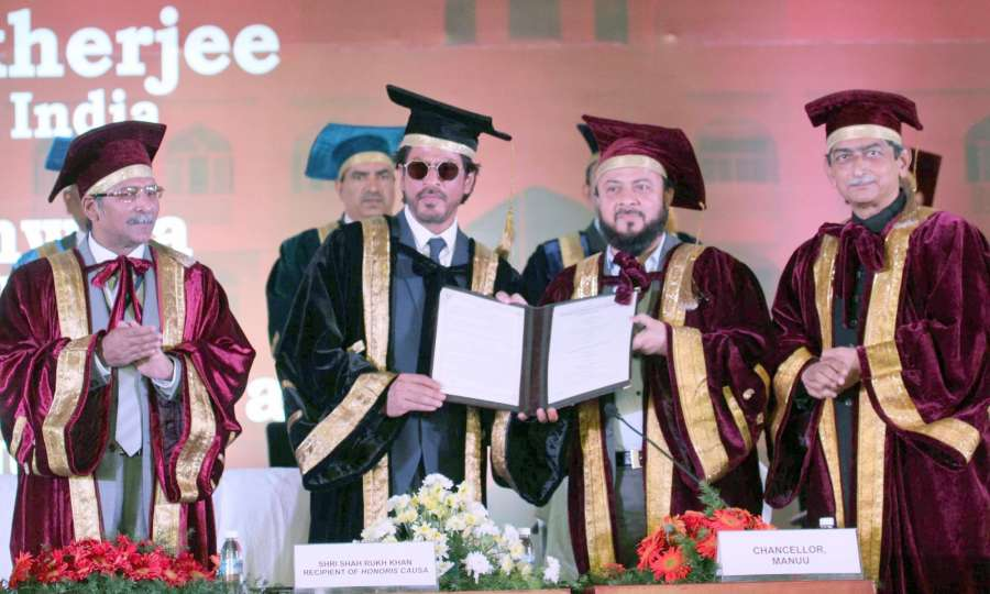 Hyderabad: Actor Shah Rukh Khan during a programme at Maulana Azad National Urdu University (MANUU) where he was conferred honorary doctorate for his extraordinary contribution in promotion of the Urdu language and culture through his films in Hyderabad
