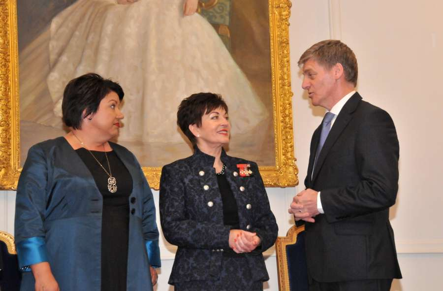 WELLINGTON, Dec. 12, 2016 (Xinhua) -- New Zealand's new Prime Minister Bill English (R) talks with Governor General Patsy Reddy (C) and new deputy prime minister Paula Bennett in Wellington, New Zealand, on Dec. 12, 2016. New Zealand's ruling center-right National Party on Monday confirmed that Bill English is replacing outgoing Prime Minister John Key, and the new deputy prime minister will be Paula Bennett. (Xinhua/Su Liang/IANS)