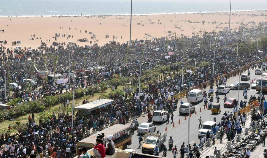 Chennai: People in large numbers stage a demonstration in favour of Jallikattu in Chennai on Jan 19, 2017. (Photo: IANS) by .