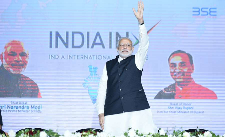 Gandhinagar: Prime Minister Narendra Modi at the inauguration ceremony of India International Exchange in GIFT City, Gandhinagar, on Jan 9, 2017. (Photo: IANS/PIB)
