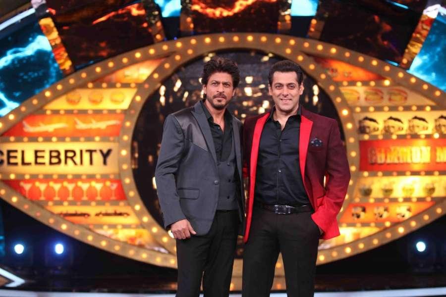 Mumbai: Actors Shah Rukh Khan with Salman Khan on the sets of Bigg Boss season 10 during the promotion of film Raees in Mumbai on Jan 20, 2017. (Photo: (IANS) by .
