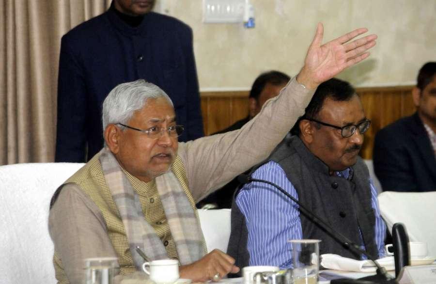 Patna: Bihar Chief Minister Nitish Kumar during a meeting in Patna on Jan 9, 2017. (Photo: IANS)