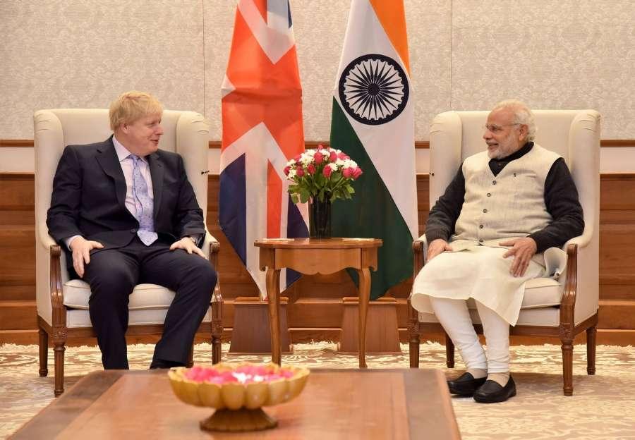 New Delhi: Boris Johnson, MP, Secretary of State for Foreign and Commonwealth Affairs, UK, calls on Prime Minister Narendra Modi, in New Delhi on Jan 18, 2017. (Photo: IANS/PIB) by .