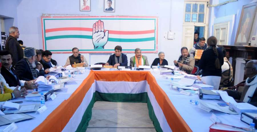 Lucknow: Congress leaders Sheila Dikshit, Raj Babbar and others during a party meeting ahead of Uttar Pradesh Assembly polls in Lucknow on Jan 5, 2017. (Photo: IANS)