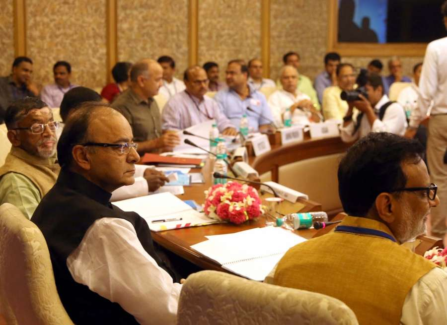 New Delhi: Union Finance Minister Arun Jaitley during the first meeting of the GST Council in New Delhi on Sept 22, 2016. Also seen Minister of State for Finance Santosh Gangwar and Delhi Deputy Chief Minister Manish Sisodia. (Photo: IANS)