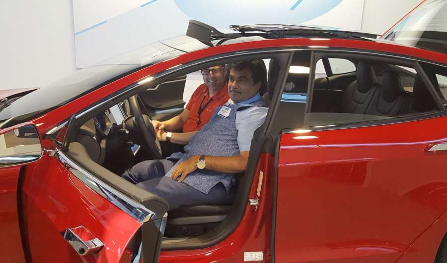 San Francisco: Union Road Transport and Shipping Minister Nitin Gadkari visiting the Tesla electric car manufacturing unit, in San Francisco on July 15, 2016. (Photo: IANS/PIB)