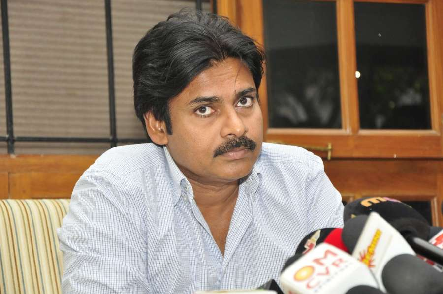 Hyderabad: Pawan Kalyan during a pressmeet for his film Sardaar Gabbar Singh. (Photo: IANS)