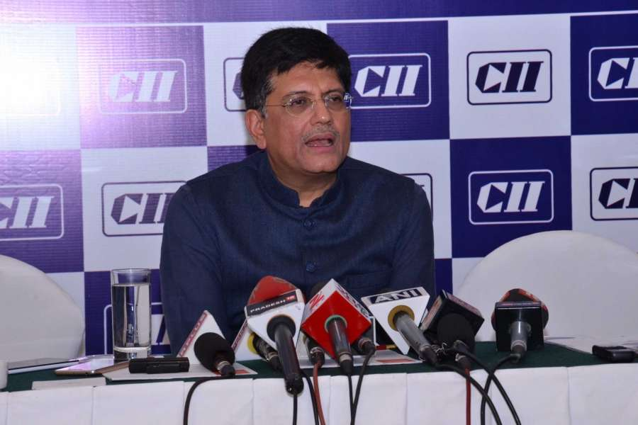 Kolkata: Union Minister of State for Power, Coal, New and Renewable Energy and Mines Piyush Goyal addresses during CII National Council Meeting in Kolkata on Jan 3, 2017. (Photo: IANS)