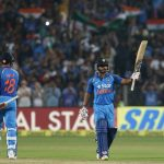 Pune: Kedar Jadhav of India celebrates his century during the 1st ODI match between India and England at the Maharashtra Cricket Association Stadium in Pune on Jan 15, 2017. (Photo: Surjeet Yadav/IANS)