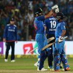 Pune: Kedar Jadhav of India celebrates his century with Virat Kohli during the 1st ODI match between India and England at the Maharashtra Cricket Association Stadium in Pune on Jan 15, 2017. (Photo: Surjeet Yadav/IANS)