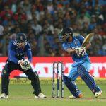 Pune: India batsman Kedar Jadhav plays a shot during the 1st ODI match between India and England at the Maharashtra Cricket Association Stadium in Pune on Jan 15, 2017. (Photo: Surjeet Yadav/IANS)