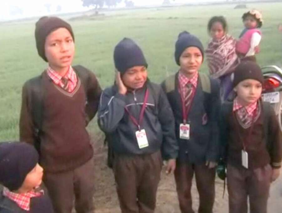 Mathura: The school students who were injured after their bus turned turtle in Mathura, Uttar Pradesh on Jan 16, 2017. (Photo: IANS) by .