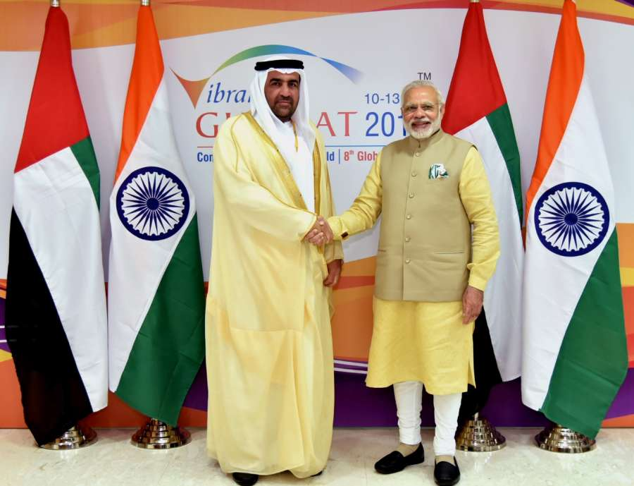 Gandhinagar: UAE Minister Dr. Rashid Ahmad bin Fahad calls on Prime Minister Narendra Modi, on the sidelines of the Vibrant Gujarat Global Summit 2017, in Gandhinagar on Jan 10, 2017. (Photo: IANS/PIB)