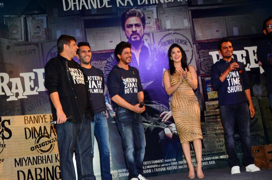 Mumbai: Filmmakers Rahul Dholakia, Ritesh Sidhwani, actors Shahrukh Khan, Sunny Leone and Nawazuddin Siddiqui during the success party of film Raees in Mumbai, on Jan 30, 2017. (Photo: IANS) by .