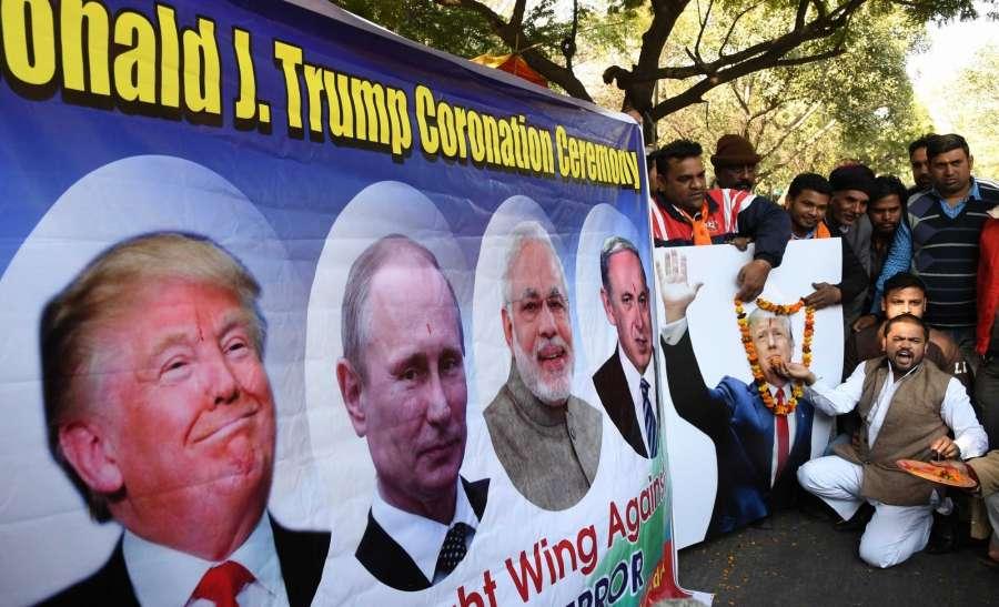 New Delhi: Hindu Sena activists organise coronation of American president-elect Donald Trump at Jantar Mantar in New Delhi, on Jan 19, 2017. (Photo: IANS) by .