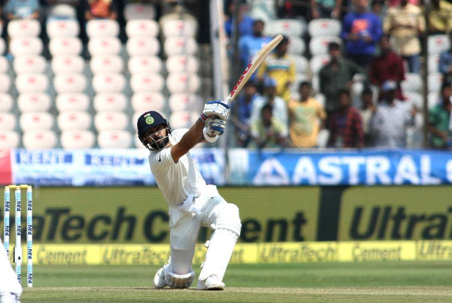 Hyderabad: Indian captain Virat Kohli plays a shot on the second day of the only test match between India and Bangladesh in Hyderabad on Feb. 10, 2017. (Photo: Surjeet Yadav/IANS) by .