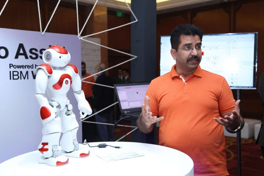 New Delhi: A robot on display during an exhibition organised to showcase
