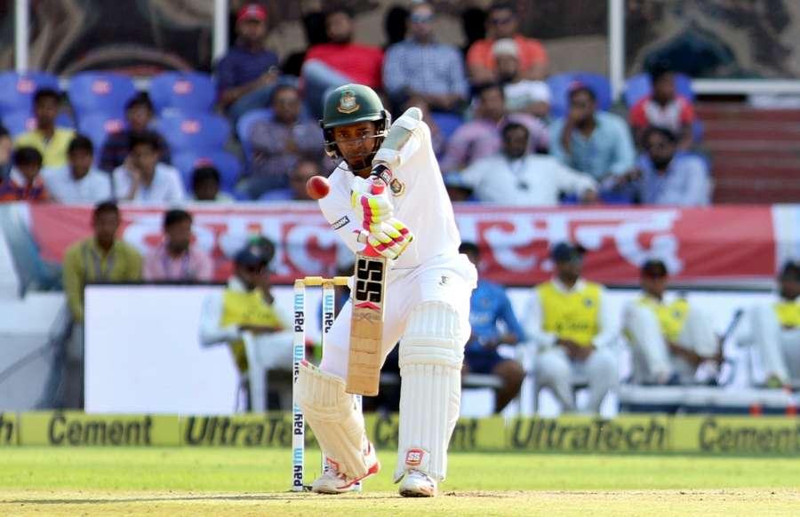 Hyderabad: Bangladesh captain Mushfiqur Rahim bats during the test match between India and Bangladesh in Hyderabad on Feb. 11, 2017. (Photo: Surjeet Yadav /IANS) by .
