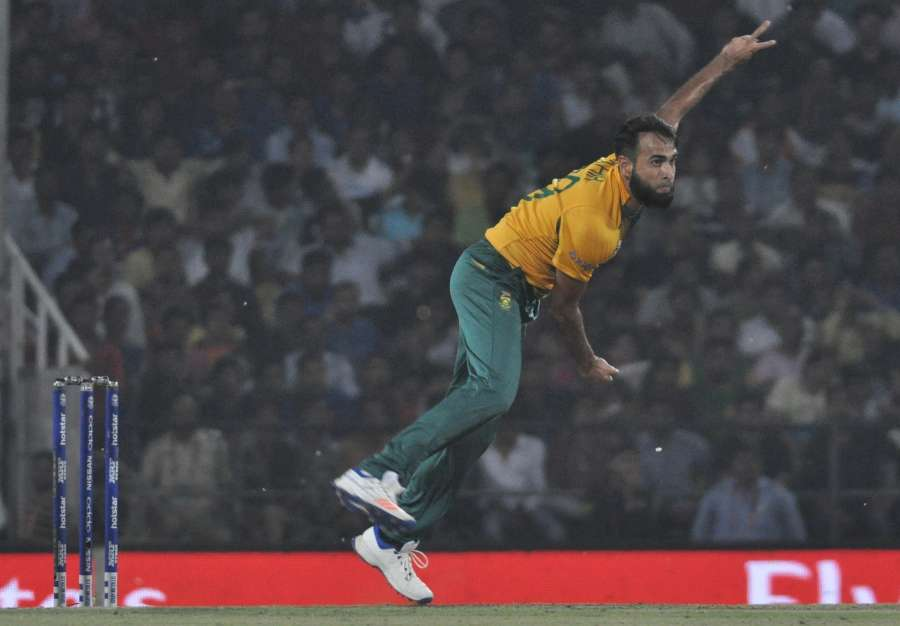 Nagpur: South African bowler Imran Tahir in action during a WT20 match between West Indies and South Africa at Vidarbha Cricket Association Stadium, Jamtha in Nagpur on March 25, 2016. (Photo: Nitin Lawate/IANS) by .