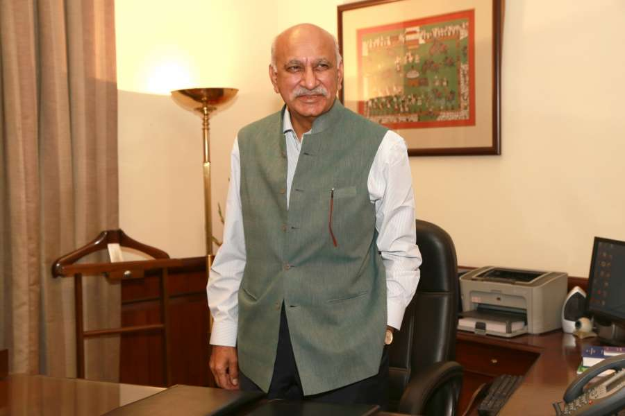 New Delhi: M.J. Akbar assumes charge as Minister of State for External Affairs, in New Delhi on July 6, 2016. (Photo: Amlan Paliwal/IANS) by .