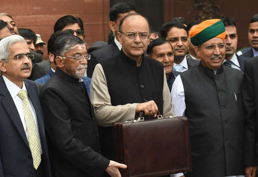 New Delhi: Union Minister Finance and Corporate Minister Arun Jaitley departs from North Block to Rashtrapati Bhavan and Parliament House, along with Minister of State for Finance and Corporate Affairs Arjun Ram Meghwal and Minister of State for Finance Santosh Kumar Gangwar to present the General Budget 2017-18, in New Delhi on February 1, 2017. (Photo: IANS) by .