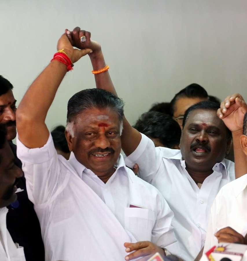 Chennai: AIADMK leader O Panneerselvam at his residence in Chennai on Feb 10, 2017. (Photo: IANS) by .