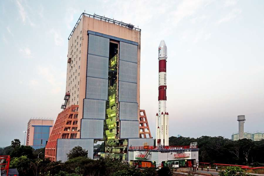 Sriharikota: Polar Satellite Launch Vehicle (PSLV) carrying Indian Regional Navigation Satellite System-IRNSS-1F parked at Sriharikota rocket port in Andhra Pradesh on March 9, 2016. The rocket standing 44.4 metres and weighing 320 tonnes is expected to blast off around 4 pm on 10th March. (Photo: IANS) by .