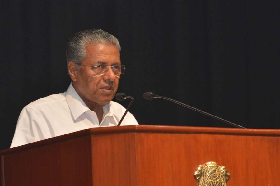 New Delhi: Kerala Chief Minister Pinarayi Vijayan addresses during the cultural programme 'Kairali' - a special Onam programme in association with the Government of Kerala at auditorium Rashtrapati Bhavan in New Delhi on Sept 3, 2016. (Photo: IANS/RB) by .