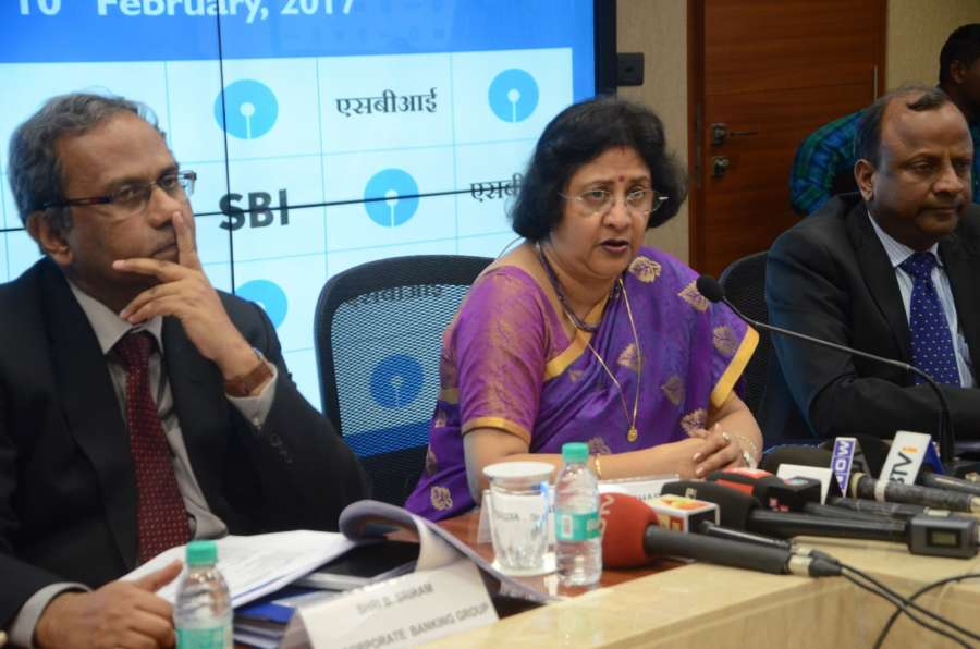 Mumbai: State Bank of India Chairman Arundhati Bhattacharya announces the Financial Results for for the quarter ended December 31, 2016 at SBI Headquarters in Mumbai, on Feb 10, 2017. The government-owned bank said it closed the last quarter with a net profit of Rs 2,610 crore. (Photo: Sandeep Mahankal/IANS) by .
