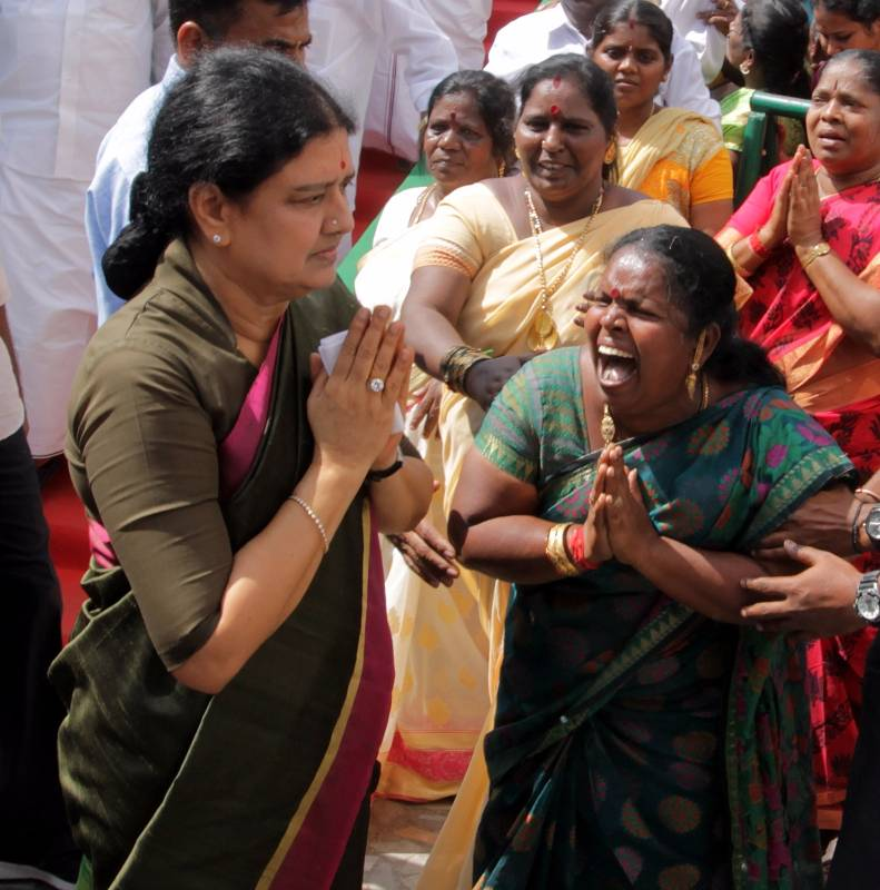 Chennai: Newly appointed AIADMK Chief Sasikala at party headquarters in Chennai on Jan 4, 2016. (Photo: IANS) by .