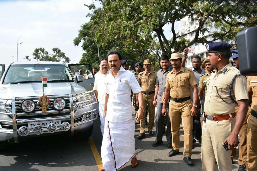 Chennai: DMK Working President MK Stalin arrives at the Tamil Nadu Legislative Assembly in Chennai on Feb 18, 2017. (Photo: IANS) by .