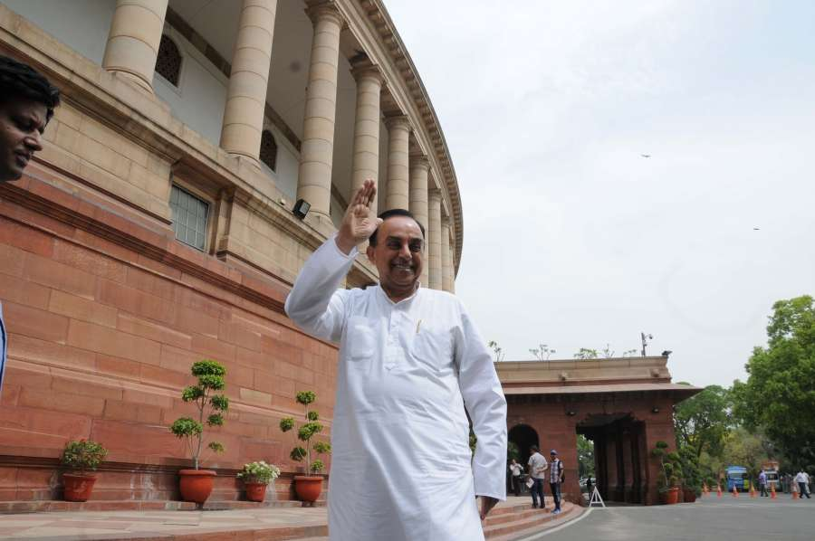 New Delhi: BJP leaders Subramanian Swamy at Parliament after BJP Parliamentary party meeting in New Delhi, on May 3, 2016. (Photo: IANS) by .