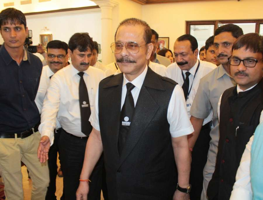 Bhopal: Sahara chief Subrata Roy during his visit to Bhopal on June 18, 2016. (Photo: IANS) by .