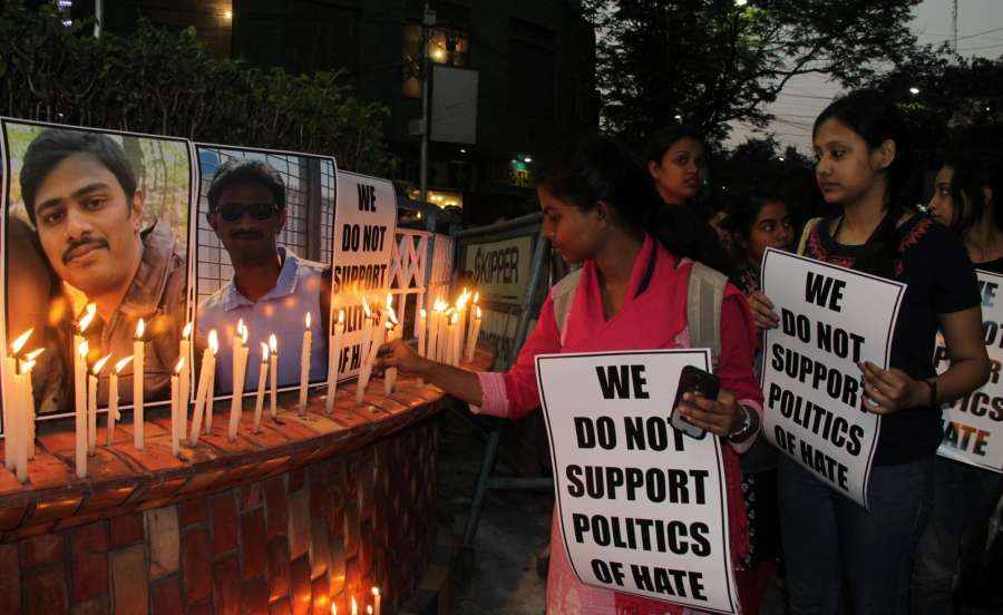 Kolkata: People pay tribute to Hyderabad engineer Srinivas Kuchibhotla in Kolkata on Feb 25, 2016. Kuchibhotla, 32, who was killed when Adam W. Purinton, a white man who earlier served in the US Navy, shot him at the Austins Bar & Grill in Olathe, Kansas state. (Photo: Kuntal Chakrabarty/IANS) by .
