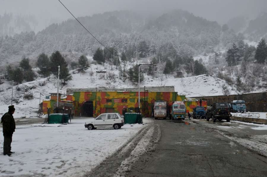 Banihal: Snowfall at Jawahar tunnel or Banihal Tunnel on Srinagar-Jammu National Highway in Jammu and Kashmir on Jan 4, 2017. (Photo: IANS) by .
