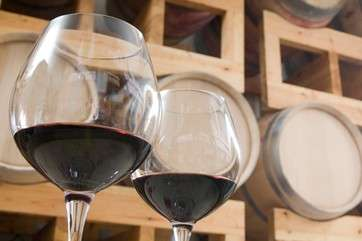 Wine glasses in cellar by .
