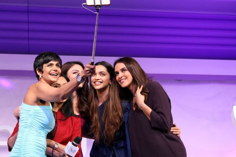 Mumbai: Actors Soha Ali Khan, Deepika Padukone, Mandira Bedi and Neha Dhupia during a programme in Mumbai on Feb 23, 2017. (Photo: IANS) by .