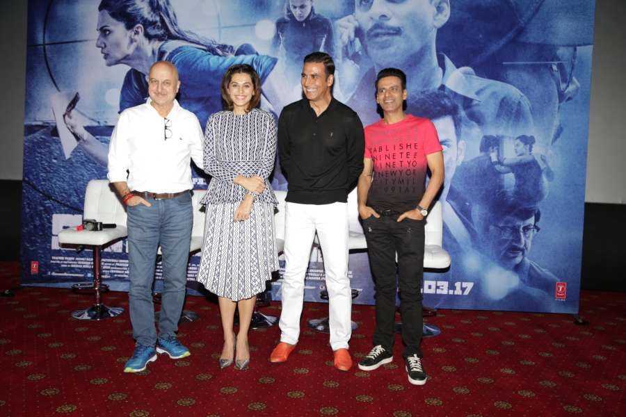New Delhi: Actors Akshay Kumar, Tapsee Pannu, Manoj Bajpayee and Anupam Kher during the Promotional Interview of film