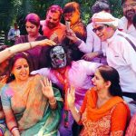 Mathura: BJP MP Hema Malini celebrates Holi in Mathura on March 13, 2017. (Photo: IANS) by .