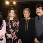 Mumbai: Author and sarod maestro Ustad Amjad Ali Khan with ghazal singer Nayaab Udhas, Farida Udhas and ghazal singer Pankaj Udhas during the launch of his book Master on Masters in Mumbai on March 28, 2017. (Photo: IANS) by .