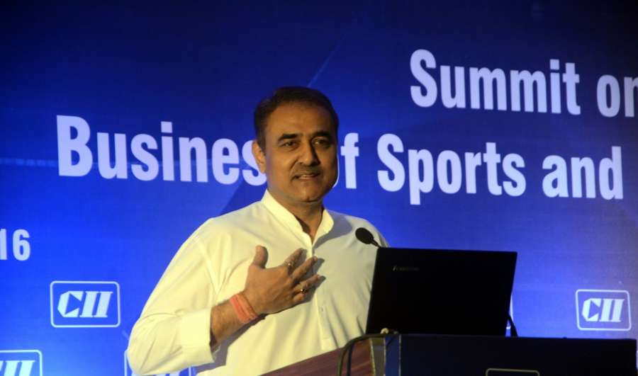 "Mumbai: All India Football Federation (AIFF) President Praful Patel addresses during a summit on ""Business of Sports and Entertainment"" organised by CII in Mumbai on Sept 21, 2016. (Photo: IANS) by ."