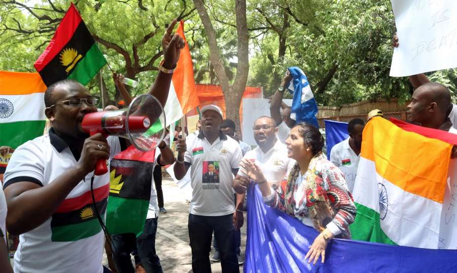 New Delhi: African students stage a demonstration against increasing attacks on them, at Jantar Mantar in New Delhi, on May 30, 2016.The protests come in the wake of a string of attacks on African nationals, especially students, in the national capital and elsewhere, which has caused outrage among them. (Photo: IANS) by .