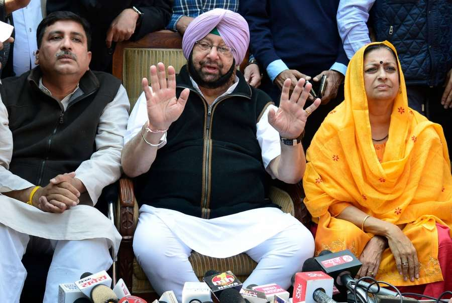 Chandigarh: Punjab Congress chief Captain Amarinder Singh addresses a press conference regarding party's performance in the Punjab assembly elections in Chandigarh on March 11, 2017. (Photo: IANS) by .