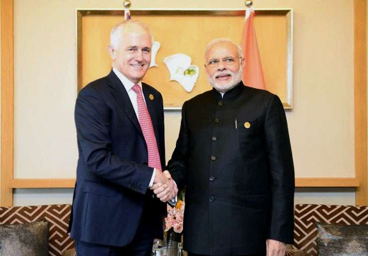 Hangzhou (China): Prime Minister Narendra Modi meets Prime Minister of Australia Malcolm Turnbull, on the sidelines of G20 Summit 2016, in Hangzhou, China on Sept 4, 2016. (Photo: IANS/PIB) by .