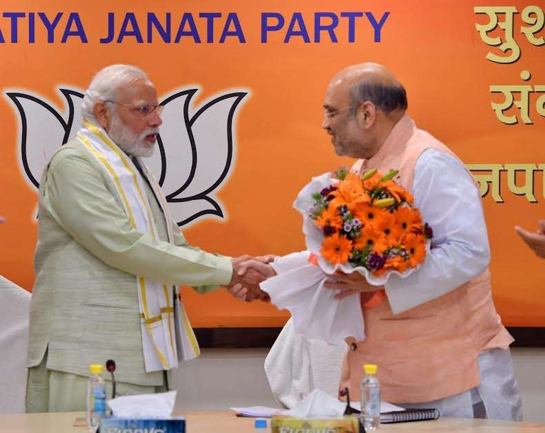 New Delhi: Prime Minister Narendra Modi with BJP president Amit Shah and other senior leaders at BJP Parliament Board Meeting in New Delhi on March 12, 2017. (Photo: IANS) by .