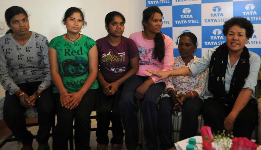 New Delhi: Indian mountaineer Bachendri Pal with members of Women Everest Expedition team - 2017 during a press conference regarding the expedition in New Delhi on March 21, 2017. (Photo: IANS) by .